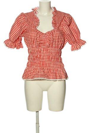by johanna Tradycyjna bluzka czerwony-biały Wzór w kratkę Styl klasyczny