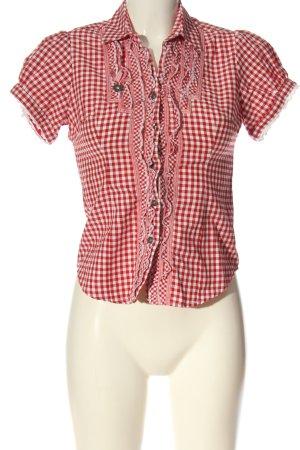 Camisa folclórica rojo-blanco estampado repetido sobre toda la superficie