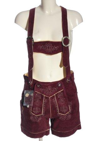 Pantalon traditionnel en cuir rouge-crème style classique
