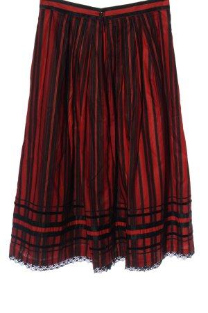 trachtenmoden alpentraum Tradycyjna spódnica czarny-czerwony Wzór w paski