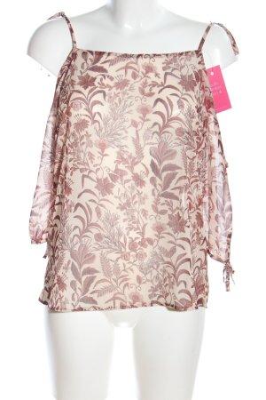 Transparenz-Bluse creme-braun Blumenmuster Casual-Look