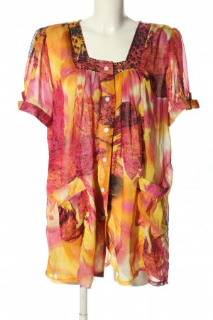 Transparenz-Bluse Allover-Druck Casual-Look
