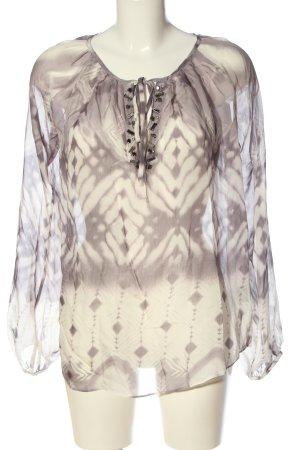 Style & Butler Transparenz-Bluse braun-creme abstraktes Muster Casual-Look
