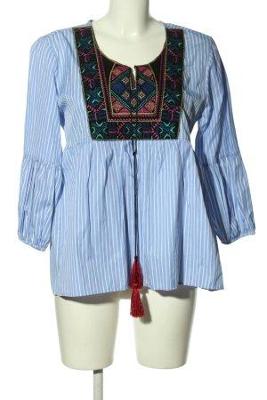 Bluzka tunika niebieski-biały Graficzny wzór W stylu casual