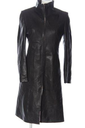 Manteau en cuir noir style décontracté