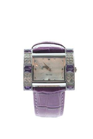 girls only Montre avec bracelet en cuir violet-argenté style décontracté