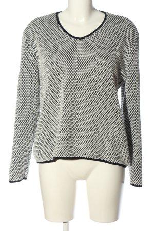 vivi&lou V-Ausschnitt-Pullover schwarz-weiß Webmuster Casual-Look
