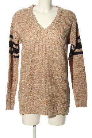 V-Ausschnitt-Pullover creme-schwarz Streifenmuster Casual-Look