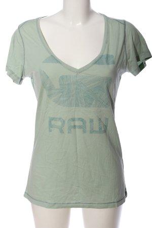 V-Ausschnitt-Shirt khaki Motivdruck Casual-Look