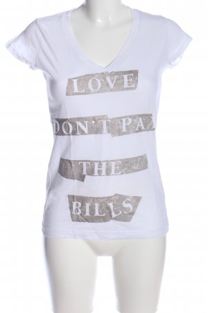 V-Neck Shirt white-bronze-colored themed print casual look