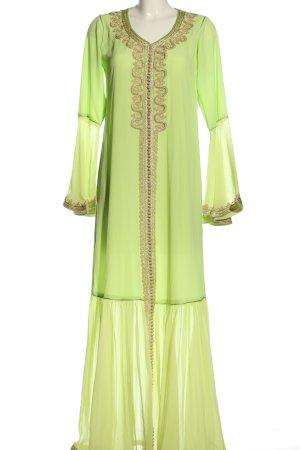 Sukienka z falbanami zielony-złoto Elegancki
