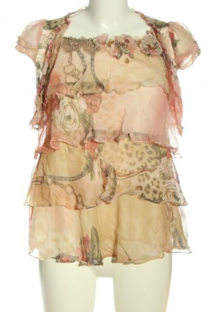 pink mary Woven Twin Set cream allover print casual look