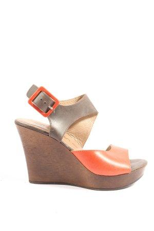 nessi Sandały klinowe na obcasie brązowy-jasny pomarańczowy W stylu casual