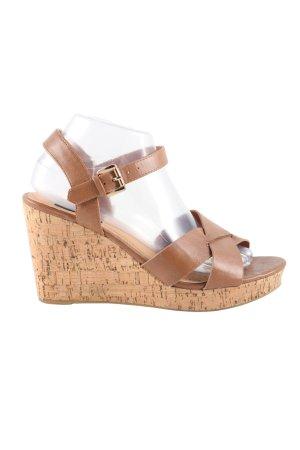 wide fit Wedges Sandaletten braun Casual-Look