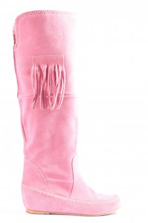 Wide Calf Boots pink casual look
