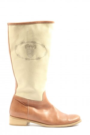 Wide Calf Boots natural white-brown themed print casual look