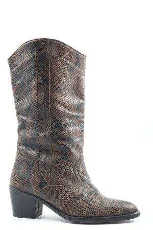 Western Booties brown-black animal pattern casual look