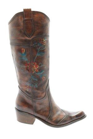 Western Laarzen bruin-blauw bloemenprint extravagante stijl