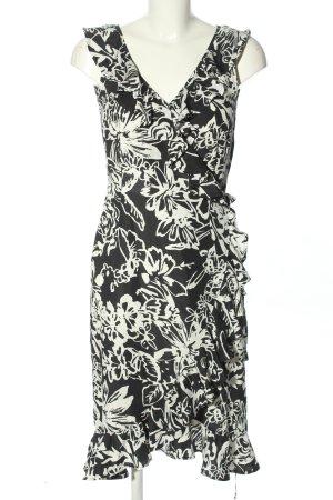 Herzmoden Kopertowa sukienka czarny-biały Na całej powierzchni W stylu casual