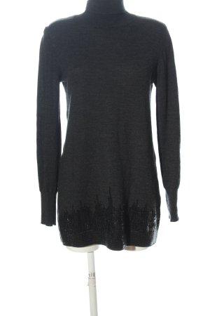 Robe en laine gris clair-noir moucheté style décontracté