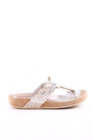 Sandalo toe-post bianco sporco-oro stile casual