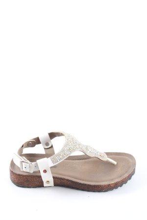 Hot Chocolate Design Sandalo toe-post bianco-oro stile casual