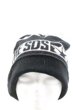 Szlafmyca czarny-biały Wydrukowane logo W stylu casual