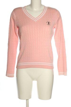 Jersey trenzado rosa-blanco estampado temático look casual