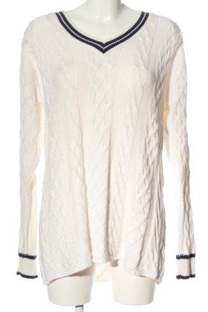 Warkoczowy sweter biały Wzór w paski W stylu casual
