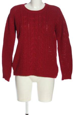 Warkoczowy sweter czerwony Warkoczowy wzór W stylu casual