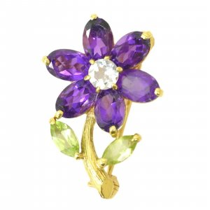 Brooch yellow real gold