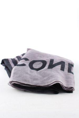 Unconditional Sjaal van kasjmier zwart-lichtgrijs gedrukte letters