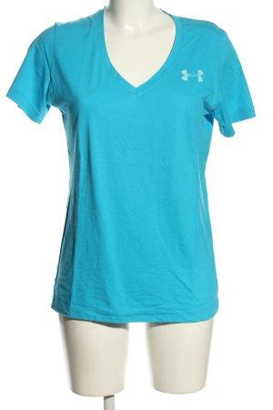 Under armour T-shirt blu-bianco caratteri stampati stile atletico