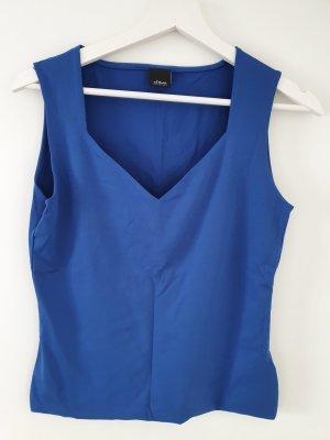 Unfiarbenes Top in royalblau - ohne Ärmel mit V-Ausschnitt