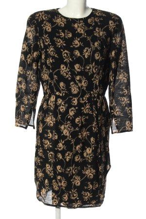 Ungaro Abito a maniche lunghe nero-crema motivo astratto elegante