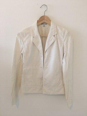 Ungefütterte Sommer Jacke Blauer Blusenjacke Hemd Revers Struktur Baumwolle minimalistisch 34 Luxus Designer hochwertig zeitlos neutral