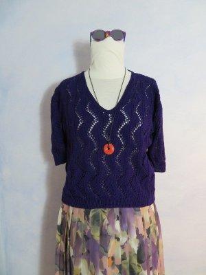 ungetragen! - Handgearbeiteter Häkelpulli - Lochmuster - Lila Violett - M L - Boho Vintage Look