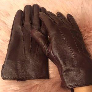 Rękawiczki z imitacji skóry brązowo-czerwony
