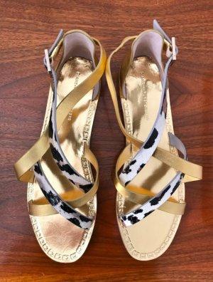 ◉ Ungetragen, im Karton! Elegante Riemchen-Sandalen Gold-Schwarz-Weiß ◉