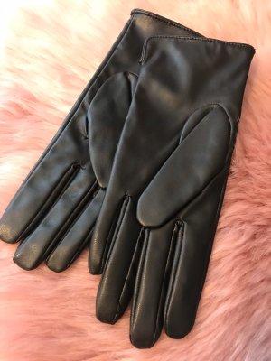 H&M Guantes de cuero negro Cuero