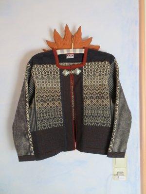 Vintage Cárdigan de estilo noruego multicolor lana de esquila