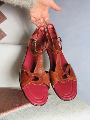 Think! T-Strap Sandals russet-brown leather