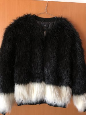 H&M Fur Jacket black-white mixture fibre