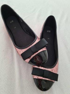 Ungetragene Ballerinas Lack Glitzer rosé H&M Größe 40