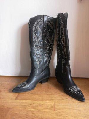 Bershka Botas estilo vaquero negro-color plata