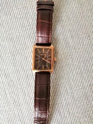 Ungetragene Dictac Armbanduhr * Unisex * Rosegold Leder * Original-Box