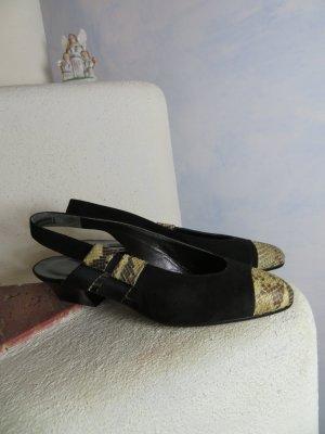 ungetragene elegante Slides Umberto Mancini Schwarz Wildleder Reptilleder Slingbacks Gr. 36,5 elegante Lederschuhe Sandalette