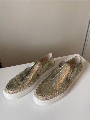 Ungetragene Goldene Zara Schuhe in Schlangenoptik