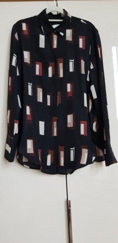 0039 Italy Zijden blouse zwart-licht beige