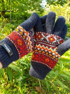 Vintage Gebreide handschoenen donkerblauw-rood